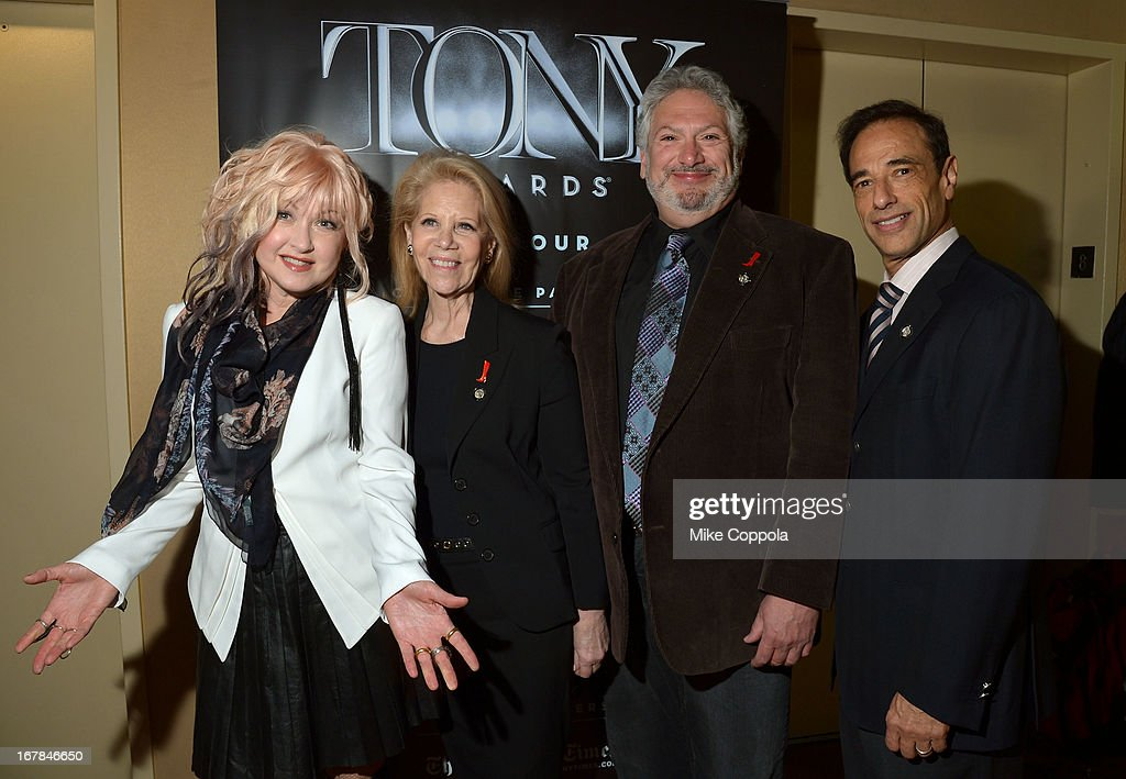 Cyndi Lauper, Daryl Roth, Harvey Fierstein, and Hal Luftig of 'Kinky Boots' attend the 2013 Tony Awards Meet The Nominees Press Reception on May 1, 2013 in New York City.