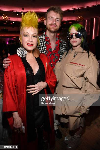 Cyndi Lauper Finneas O'Connell and Billie Eilish attend Billboard Women In Music 2019 presented by YouTube Music on December 12 2019 in Los Angeles...