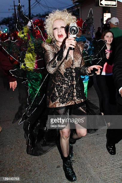 Cyndi Lauper going to her awaiting Mardi Gras float in the 2012 Krewe of Orpheus Parade on February 20 2012 in New Orleans Louisiana