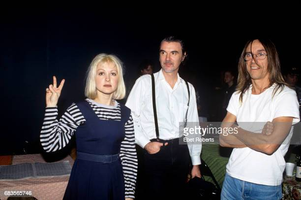 Cyndi Lauper Iggy Pop and David Byrne at a Rock For Choice concert at St Ann's Church in Brooklyn New York on October 28 1992