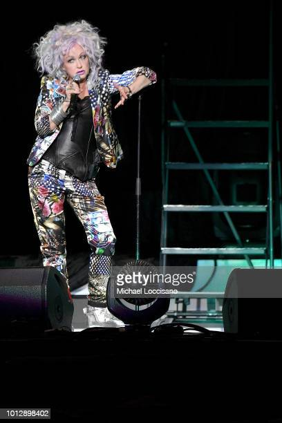 Cyndi Lauper performs at Madison Square Garden on August 7 2018 in New York City