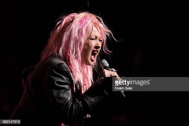 Cyndi Lauper performs at the 5th Annual 'Cyndi Lauper and Friends Home For The Holidays' benefit concert at The Beacon Theatre on December 5 2015 in...