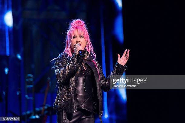 Cyndi Lauper performs at the America Salutes You Concert Honoring Military Veterans And Their Families at Rosemont Theatre on November 12 2016 in...