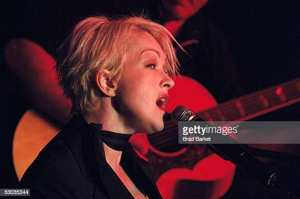 Cyndi Lauper performs at the Anne Frank 75th Birthday Tribute at Pier 60 Chelsea Piers on June 7 2005 in New York City