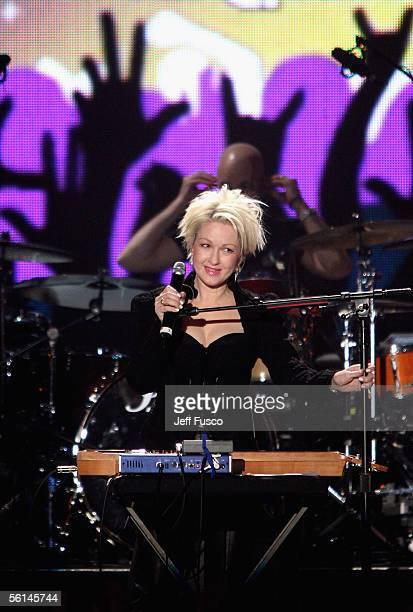 "Cyndi Lauper performs at the VH1 Classic Presents ""Decades Rock Live"" concert at the Trump Taj Mahal on November 11, 2005 in Atlantic City, New..."