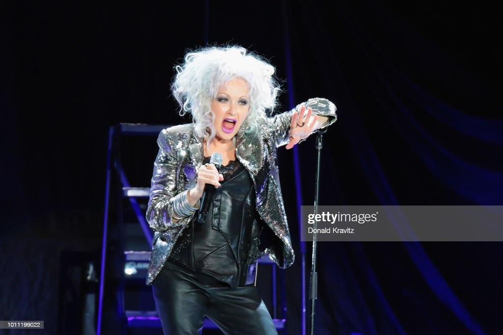 Cyndi Lauper performs in concert as Special Guest for Rod Stewart at Atlantic City Boardwalk Hall on August 4, 2018 in Atlantic City, New Jersey.