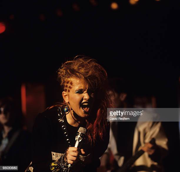 Cyndi Lauper performs on stage at the Montreux Rock Festival held in Montreux Switzerland in May 1984