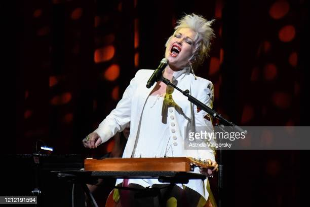 Cyndi Lauper performs on stage during the Fourth Annual LOVE ROCKS NYC benefit concert for God's Love We Deliver at Beacon Theatre on March 12, 2020...
