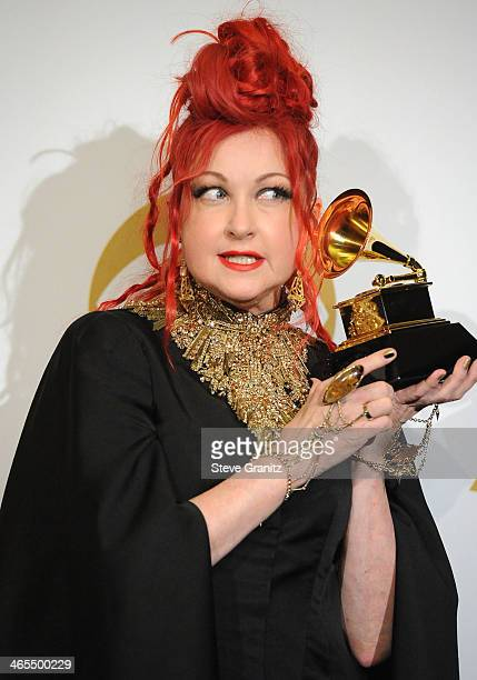 Cyndi Lauper poses at the 56th GRAMMY Awards on January 26 2014 in Los Angeles California