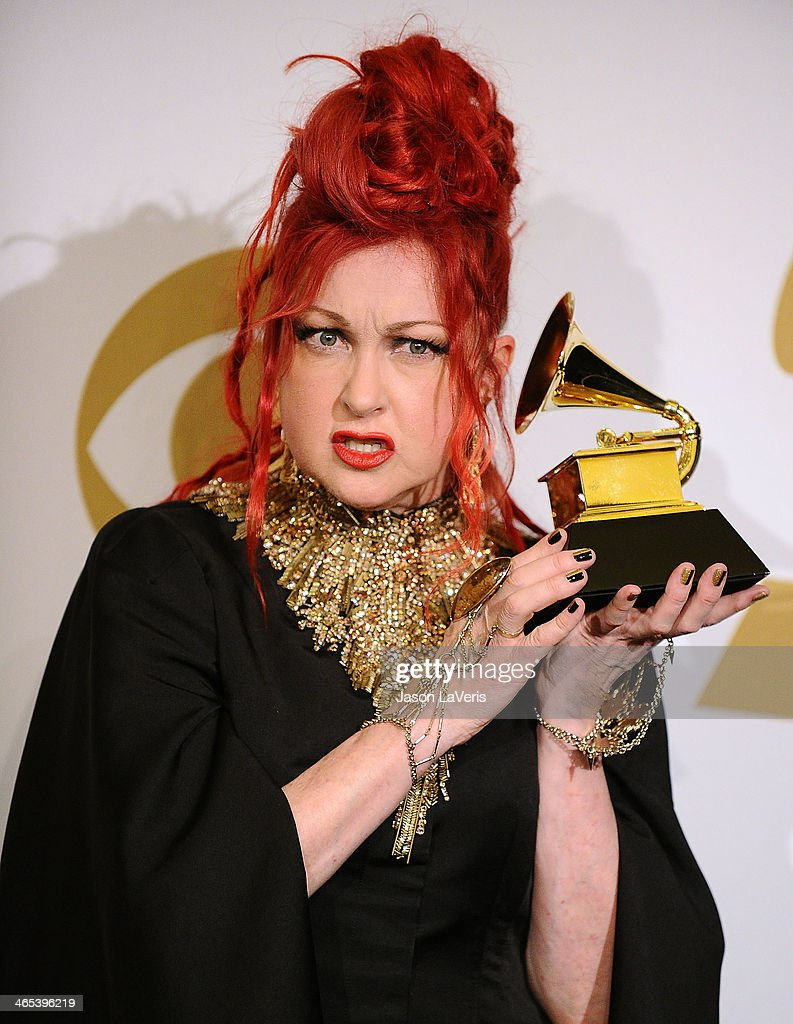 Cyndi Lauper poses in the press room at the 56th GRAMMY Awards at Staples Center on January 26, 2014 in Los Angeles, California.