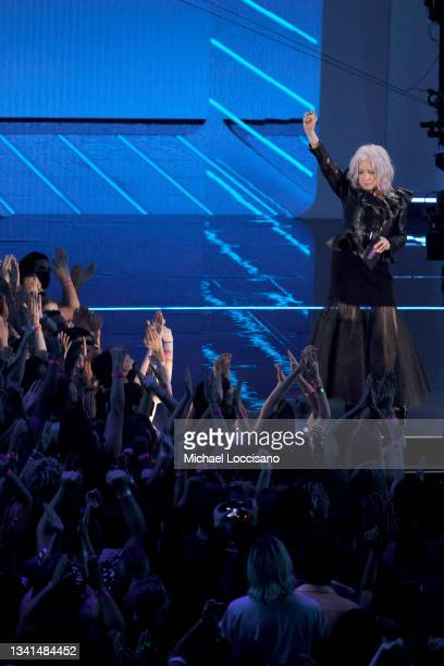 Cyndi Lauper speaks onstage during the 2021 MTV Video Music Awards at Barclays Center on September 12, 2021 in the Brooklyn borough of New York City.