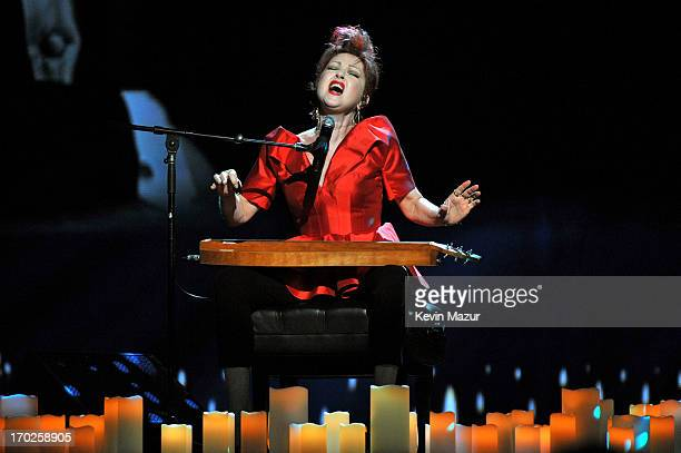Cyndi Lauper winner of the Tony Award for Best Original Score for 'Kinky Boots' performs onstage at The 67th Annual Tony Awards at Radio City Music...