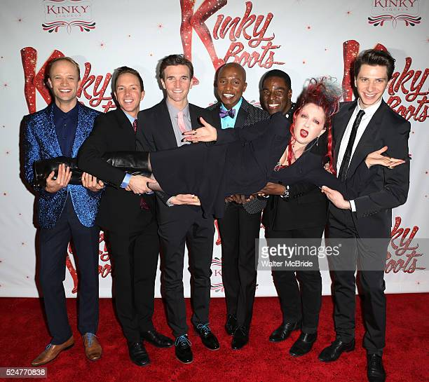 Cyndi Lauper with Kyle Post Paul Canaan Charlie Sutton Kevin Smith Kirkwood Kyle Taylor Parker Joey Tarantoattending the Broadway Opening Night...