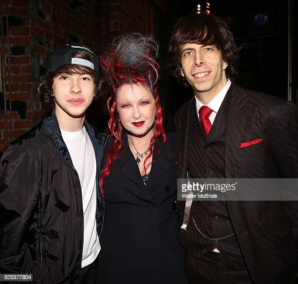 Cyndi Lauper with son Declyn Wallace Thornton and husband David Thornton attending the Opening Night Gypsy Robe Ceremony honoring Charlie Sutton for...