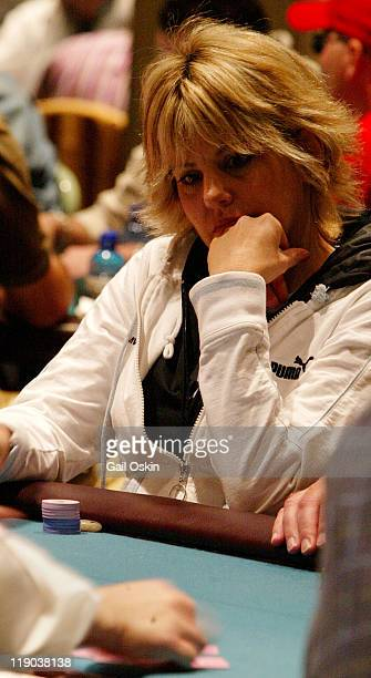 Cyndy Violette plays poker at the 2004 World Poker Finals at Foxwoods Resort Casino in Ledyard Connecticut Saturday November 13 2004World Poker Tour...