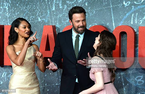 Cynthia AddaiRobinson Ben Affleck and Anna Kendrick attend the UK premiere of The Accountant at Cineworld Leicester Square on October 17 2016 in...