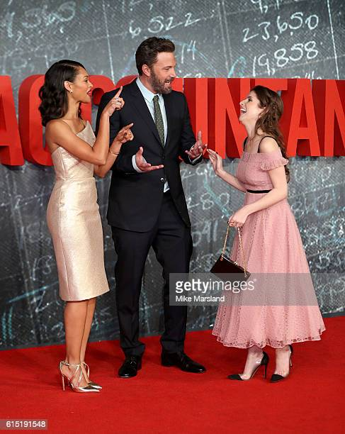 Cynthia AddaiRobinson Ben Affleck and Anna Kendrick attends the UK premiere of The Accountant at Cineworld Leicester Square on October 17 2016 in...