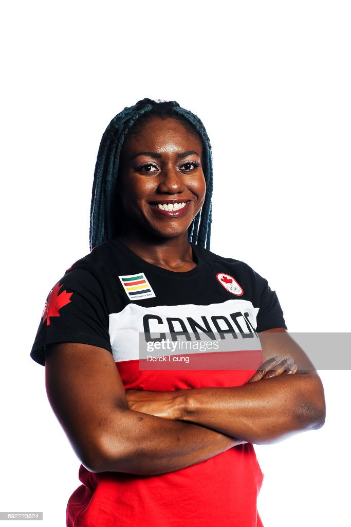 Cynthia Appiah poses for a portrait during the Canadian Olympic Committee Portrait Shoot on June 4, 2017 in Calgary, Alberta, Canada.