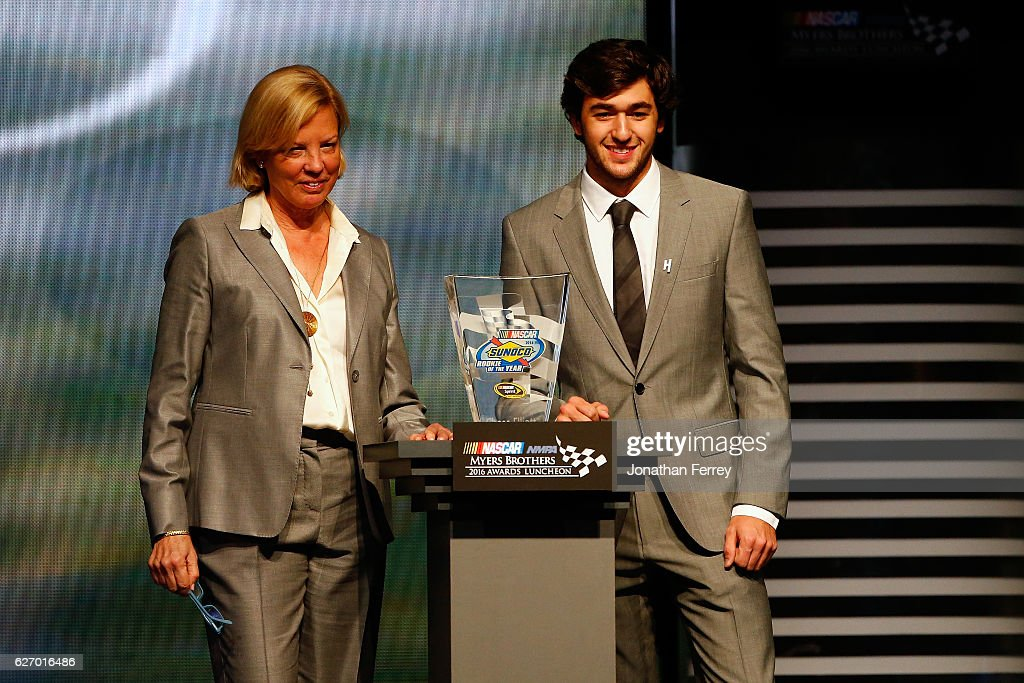 Cynthia Archer(left), Sunoco Executive Vice President and Chief Marketing Officer, and Chase Elliott, driver of the #24 Chevrolet, pose with the Sunoco Rookie of the Year Award during the NASCAR NMPA Myers Brothers Awards Luncheon at The Wynn on December 1, 2016 in Las Vegas, Nevada.