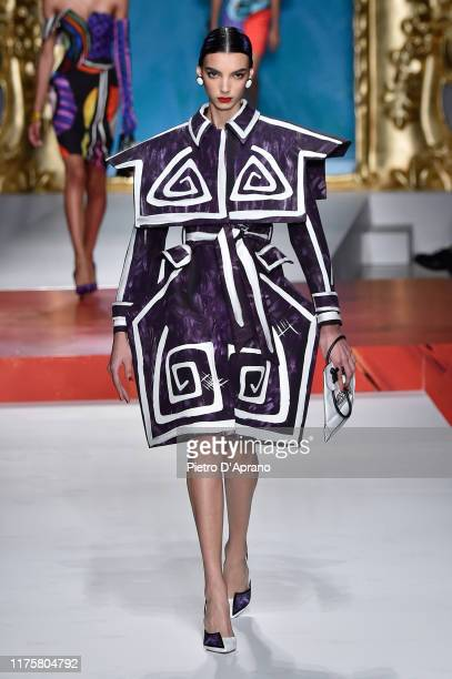 Cynthia Arrebola walks the runway at the Moschino show during the Milan Fashion Week Spring/Summer 2020 on September 19 2019 in Milan Italy