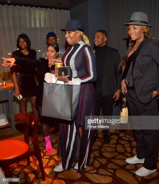 Cynthia Bailey and Nene Leakes attend Marlo Hampton Birthday Celebration Dinner at Kaisers Restaurant on February 3 2018 in Sandy Springs Georgia