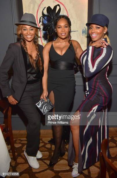 Cynthia Bailey Marlo Hampton and Nene Leakes attend Marlo Hampton Birthday Dinner celebration at Kaisers Restaurant on February 3 2018 in Sandy...