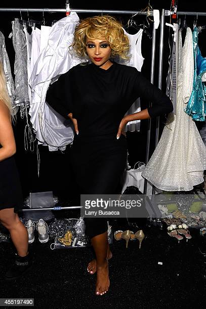 Cynthia Bailey prepares backstage at the Betsey Johnson fashion show during MercedesBenz Fashion Week Spring 2015 at The Salon at Lincoln Center on...