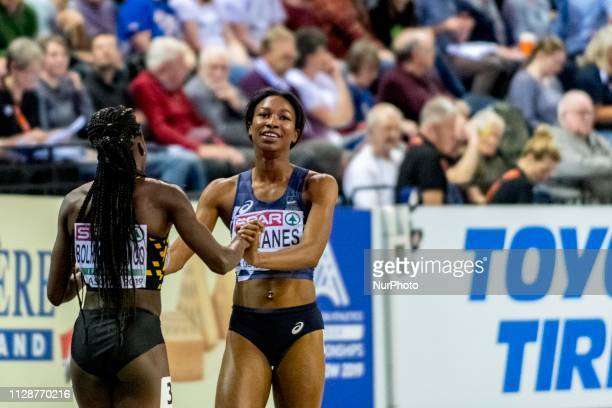 Cynthia BEL and SANANES Deborah FRA during day ONE of the European Athletics Indoor Championships 2019 at Emirates Arena in Glasgow Scotland United...
