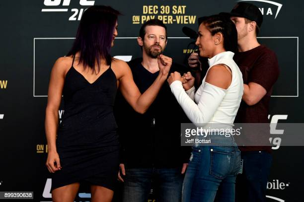Cynthia Calvillo and Carla Esparza face off for the media during the UFC 219 Ultimate Media Day inside TMobile Arena on December 28 2017 in Las Vegas...