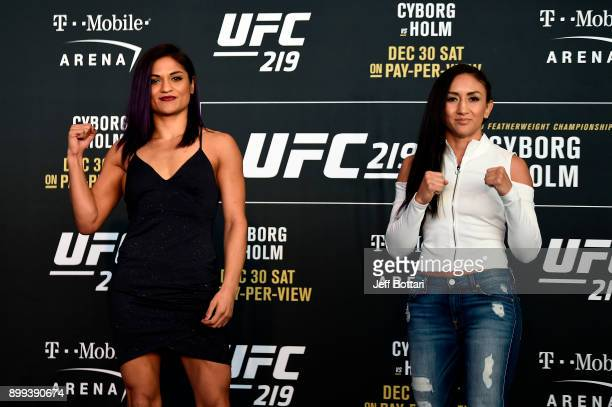 Cynthia Calvillo and Carla Esparza pose for the media during the UFC 219 Ultimate Media Day inside TMobile Arena on December 28 2017 in Las Vegas...