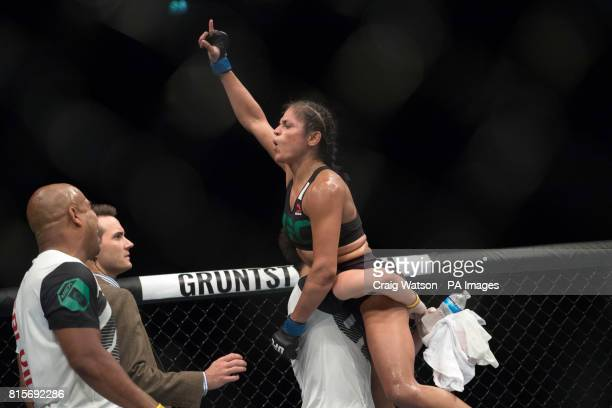 Cynthia Calvillo celebrates victory in her strawweight bout during the UFC Fight Night at the SSE Hyrdo Glasgow