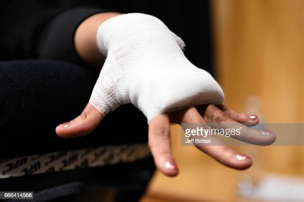 Cynthia Calvillo gets her hands wrapped backstage during the UFC 210 event at the KeyBank Center on April 8 2017 in Buffalo New York