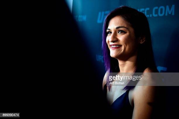 Cynthia Calvillo interacts with media during the UFC 219 Ultimate Media Day inside TMobile Arena on December 28 2017 in Las Vegas Nevada