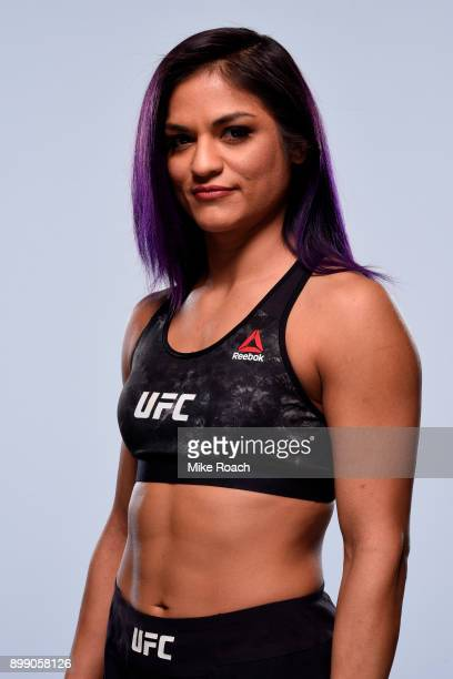 Cynthia Calvillo poses for a portrait during a UFC photo session on December 27 2017 in Las Vegas Nevada