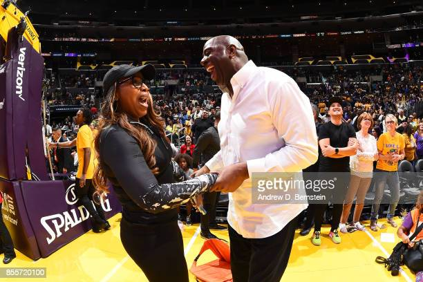 Cynthia Cooper and Magic Johnson during the game between the Los Angeles Sparks and Minnesota Lynx in Game 3 of the 2017 WNBA Finals on September 29...