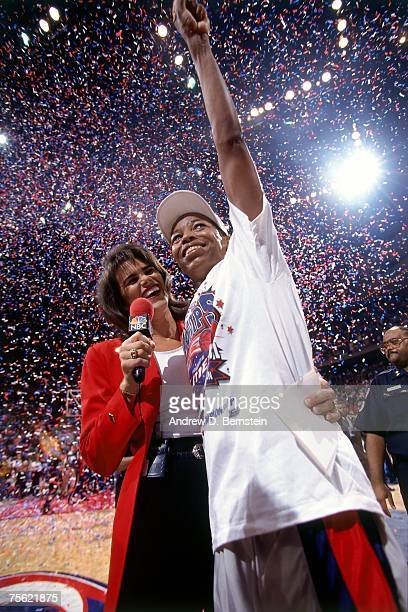 Cynthia Cooper of the Houston Comets celebrates winning the first ever WNBA Championship in August of 1997 at the Summit in Houston Texas NOTE TO...