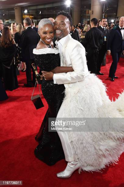 Cynthia Erivo and Billy Porter attend the 77th Annual Golden Globe Awards at The Beverly Hilton Hotel on January 05, 2020 in Beverly Hills,...