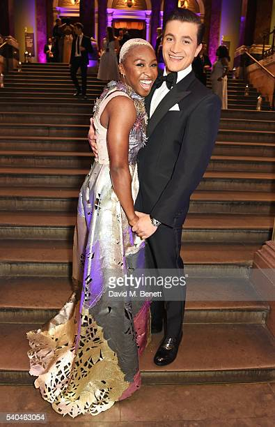 Cynthia Erivo and cast member Dean JohnWilson attend the press night after party for Disney's 'Aladdin' at The National Gallery on June 15 2016 in...