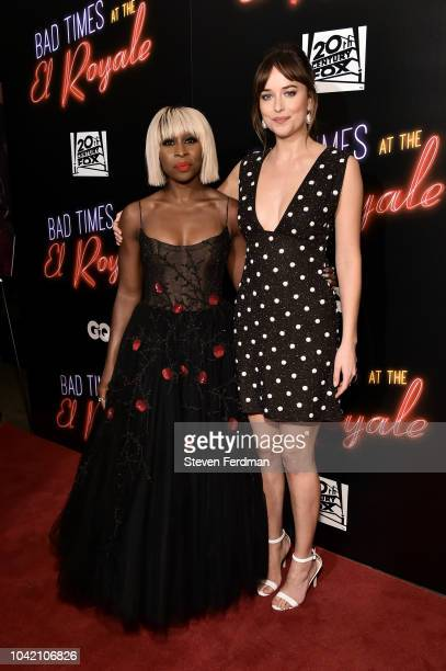 Cynthia Erivo and Dakota Johnson arrives at Bad Times At The El Royale New York Screening at Metrograph on September 27 2018 in New York City