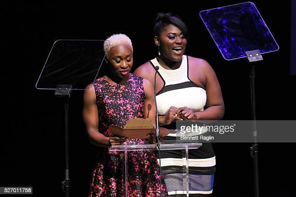 Cynthia Erivo and Danielle Brooks speak onstage during the 31st Annual Lucille Lortel Awards at NYU Skirball Center on May 1 2016 in New York City