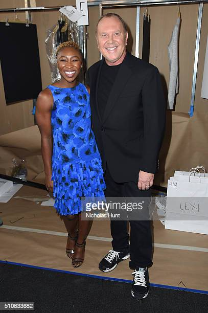 Cynthia Erivo and Designer Michael Kors pose backstage at the Michael Kors Fall 2016 Runway Show during New York Fashion Week The Shows at Spring...