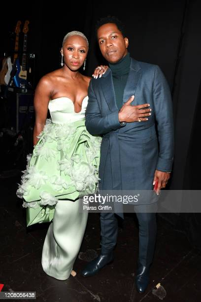 Cynthia Erivo and Leslie Odom Jr attend the 51st NAACP Image Awards Presented by BET at Pasadena Civic Auditorium on February 22 2020 in Pasadena...