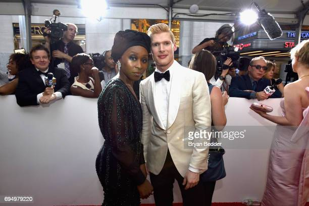 Cynthia Erivo and Lucas Steele attend the 2017 Tony Awards at Radio City Music Hall on June 11 2017 in New York City