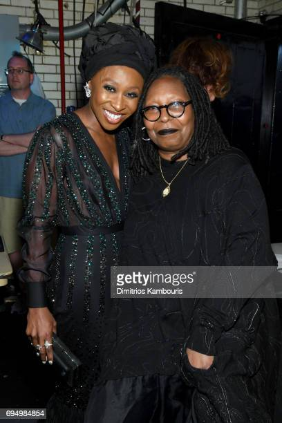 Cynthia Erivo and Whoopi Goldberg pose backstage during the 2017 Tony Awards at Radio City Music Hall on June 11 2017 in New York City