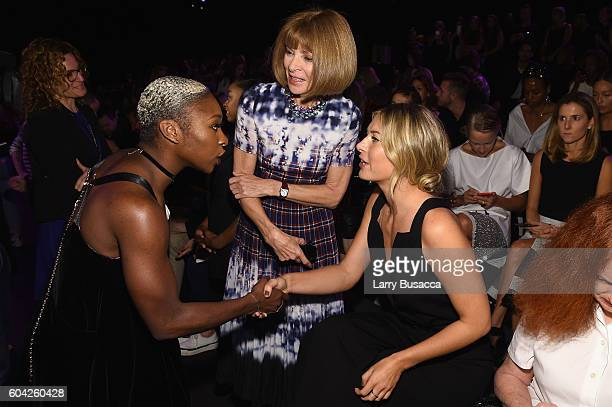 Cynthia Erivo Anna Wintour and Maria Sharapova attend the Vera Wang Collection fashion show during New York Fashion Week The Shows at The Arc...