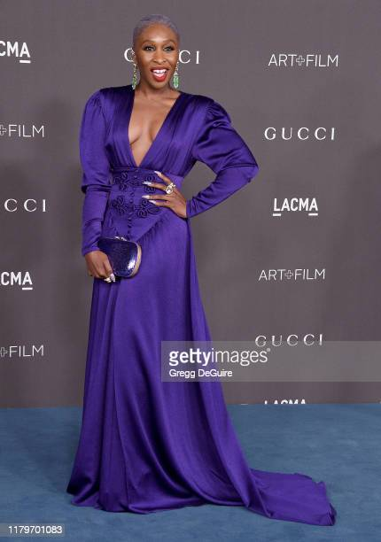 Cynthia Erivo arrives at the 2019 LACMA Art Film Gala Presented By Gucci on November 2 2019 in Los Angeles California