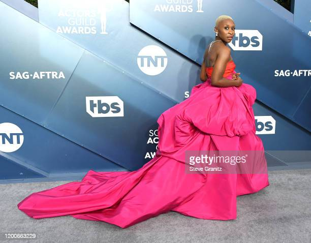 Cynthia Erivo arrives at the 26th Annual Screen ActorsGuild Awards at The Shrine Auditorium on January 19 2020 in Los Angeles California