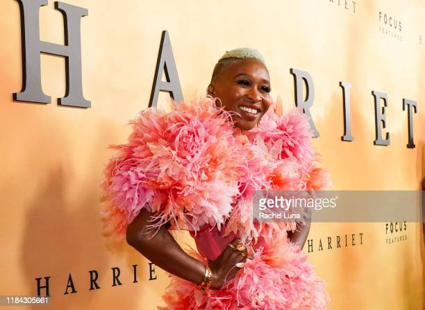 Cynthia Erivo attends the premiere of Focus Features' Harriet at The Orpheum Theatre on October 29 2019 in Los Angeles California