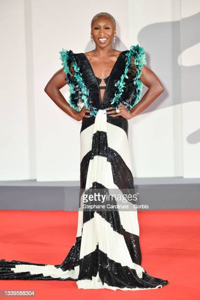 """Cynthia Erivo attends the red carpet of the movie """"The Last Duel"""" during the 78th Venice International Film Festival on September 10, 2021 in Venice,..."""