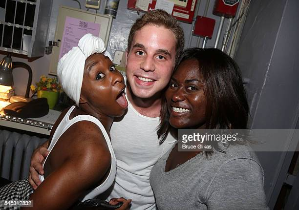 Cynthia Erivo Ben Platt and Danielle Brooks pose backstage at the hit musical 'The Color Purple' on Broadway at The Jacobs Theatre on July 6 2016 in...